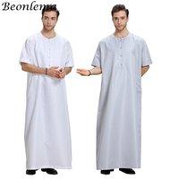 Beonlema Arabisch Islamisch Hombre Sommer Kurzarm Thaptin für Männer Kaftan Homme Muslimische Kleidung Abaya Baju Muslim Pria