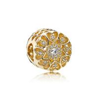 Charme CZ diamante Beads 925 prata banhado a ouro 18K Box Original Set Indicado para Pandora alta qualidade pulseira de contas DIY