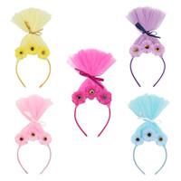 Parti festivalleri hediyeler İçin Yeni Troller peruk headdress Çocuklar Kız Cosplay Kafa Prenses Bobbi Saç bandı
