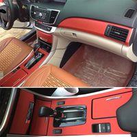Pour HONDA Accord 2014-2016 Intérieur Panneau de commande Central Porte Poignée 3D / 5D En Fiber De Carbone Autocollants Stickers Car styling Accessoire