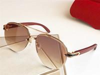 Moda Tasarım Güneş Gözlüğü T8200986 Pilot Yarım Çerçeve Ahşap Bacaklar Kristal Kesme Lens Basit Pop Stil UV400 Açık Gözlük