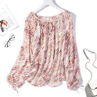 Women' s 100% Pure Silk Top Shirt Blouse Transparent Rou...
