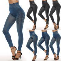Moda İnce Kadınlar Tozluklar Sahte Denim Jeans Tozluklar Seksi Uzun Pocket Baskı Yaz Tozluklar Casual Kalem Pantolon LE399