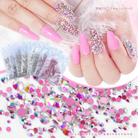 Nail Strass SS2-SS20 flache Unterseite AB Flamme Kristall Rose Gold Row Drill Shiny Glasdiamant 3D Nagel-Kunst-Dekor-Charme-Set