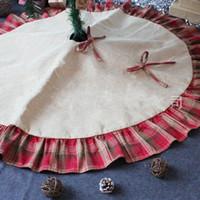 Красные решетки белья Главной Mat Bowknot Лоскутной Рождественская елка юбка украшение Pad украшение фестиваль для вечеринок 26 5zt чча