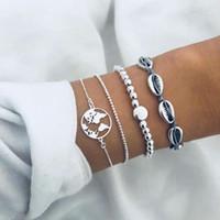 vsco con catena incastonata conchiglia mappa braccialetto di fascino set per le donne stile bohemien vacanza stile puka shell bracciali gioielli moda regalo di compleanno