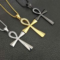 Mens Gelado Espaço Colares Egípcios Ankh Crucifix Pingente Colar De Aço Inoxidável Símbolo De Vida Cruz Jóias Presentes Para Mulheres