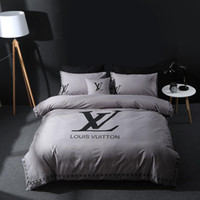 Highend brand washed cotton V Letter Four piece bedding set ...