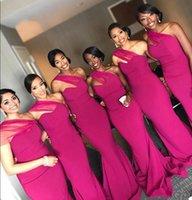 Fuchsia Une Epaule Sirène Robes De Demoiselle D'honneur Pleats Longueur Au Sol Africain Mariage Nigérian Robe D'invité Formelle Robes De Bal TD1147