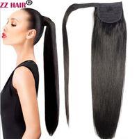 """16 """"-32"""" Wrap Sihirli At kuyruğu Horsetail 80g-140g Klipler / 100% Brezilyalı Remy İnsan Saç Uzatma Doğal Düz"""
