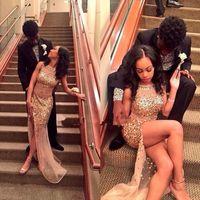 ビーズのラインストーンのセクシーなハイスリットの光沢のあるブリンの吹き付け2K16フォーマルなイブニングガウン豪華な黒人の女の子のためのブラジルのシャンパン裸のウエディングのドレス