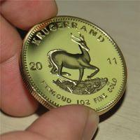 Freies Verschiffen 1PCS / LOT 2011 Präsens Südafrika Krügerrand Goldmünze Gedenkmünzen Sammler Geschenk, VERGOLDET COINS