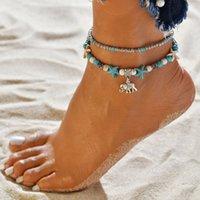 Doppel Elefant Anhänger Armband Seestern Reis Perlen Yoga Freizeit Urlaub Strand footchain