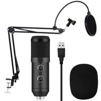 BM 900 конденсаторный USB-микрофон студия с подставкой штатив и поп-фильтр микрофон для компьютера караоке ПК повышен с BM 800