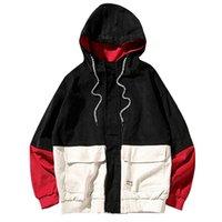 Couleur Automne bloc Patchwork Vestes Hommes Corduroy Hooded Hip Hop Sweats à capuche Manteaux Casual Male Vêtements Vêtements Streetwear