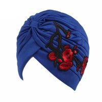 Women flower Embroidery Cancer Chemo Hat Beanie Scarf Turban Head Wrap Cap female Gorras fasdhion Bandana Pleated