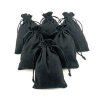 10 шт. черный шелк ткань фланель замши ювелирные изделия мягкий бархат упаковка ошпарить золотой мешок Рождество путешествия косметический подарок сумки