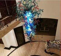 Lampadario in vetro di vetro di Murano soffiato a mano 100% con lampadine a LED lampadario cristallo blu grande grande taglia per stile scala
