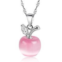 Nuevos Blanco Rojo de Apple Collares lindos para Mujeres Niñas Cristal y joyería de la cadena Opal colgantes de moda collar precioso clavicular