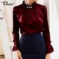 Celmia femmes satin élégant Blouses manches longues Chemise en soie perle collier Stand Femme Bureau Hauts solides Casual Taille Blusas plus
