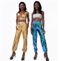 Loose efectiva pantalones Partido de los pantalones y las mujeres del club de Hip Hop para mujer pantalones de diseño de la calle de moda de estilo Láser