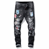 Único Mens Badge Rasga Stretch Black Jeans Designer de Moda Slim Fit Lavado Motocycle Calças Jeans Painted Hop Hip Calças 1020