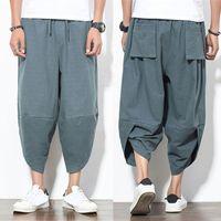 Harajuku Coton Lin Hommes Harem Pantalon Lâche Veau-longueur Pantalon Hommes Japon Style Cordon Cross-pantalons Hiphop Joggers Pantalons