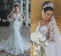 Moderne neue 2019 romantische wunderschöne langärmlige Meerjungfrau-Brautkleider Perlen-Spitze-Prinzessin Brautkleid benutzerdefinierte Applikationen sehen durch