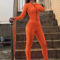 GXQIL 2019 Fitness-Anzug Weiblich Dry Fit Sport Frau Gym Kleidung atmungsaktiv Yoga Sets 2 Stück Herbst-Winter-Training-orange M
