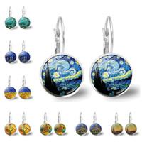 Articoli da regalo donne monili Van Gogh orecchini d'argento di colore stile semplice dell'orecchio del polsino famoso artista Notte stellata Orecchini in vetro Cabochon