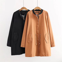 Plus size 4XL Cotton Trench coat Women 2018 New Spring Autumn Windbreaker Washed Solid cotton Coat Female Casual Tops OKXGNZ1990