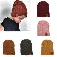 أحدث اعتصامات الاطفال الحلوى الألوان الحياكة القبعات طفل الفتيان الفتيات الترفيه قبعات الأطفال الخريف الشتاء الدافئ قبعة قبعة قبعة قبعة 9 ألوان