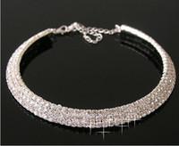 Crystal Bridal Jewelry Sexy Hombre Hecho Diamante Collar para Party Prom Evento Formal Boda Joyería Juego Accesorios nupciales 3 Filas Rhinestone