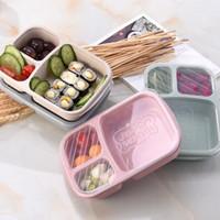 3 Izgara Buğday Straw yemek kutusu Mikrodalga Bento Box Kalite Sağlık Doğal Öğrenci Taşınabilir Gıda Saklama Kutusu bulaşığı