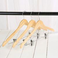 Holz Anzug Kleiderbügel mit Polierte Clips und Haken Natural Wood Kleiderbügel Hosen Storage Rack