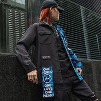 Camicia uomo camicia casual vintage in cotone blu scuro patchwork plaid patchwork uomo camicia a maniche lunghe scozzese