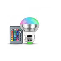 أرخص أدى 3 واط RGB غلوب لمبة 16 ألوان rgb لمبة الألومنيوم 85-265 فولت لاسلكي للتحكم عن بعد e27 عكس الضوء rgb ضوء اللون تغيير الصمام لمبة