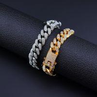 Las pulseras de 13 mm Crystal Rhinestone lleno unisex pulseras de oro color de la plata hacia fuera helado Miami Cuban Link pulsera de cadena Hip Hop Hombres