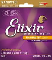 1PCS مجموعة Elixir Nanoweb الفوسفور البرونزية المتوسطة سلاسل الغيتار الصوتية 16102