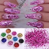 24 Boxs / Set Olografici Nail scintillio polvere colorata Shinning Nail Paillettes Pigment Polvere di alimentazione della decorazione di arte fai da te design