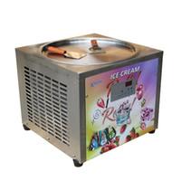 Máquina de helado de rollo de hielo de 45 cm comercial de 45 cm Máquina helado frito con descongelación automática, PCB de SAMRT AI TEMP.CONTROLER