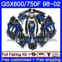 Corpo para SUZUKI GSXF 750 600 GSXF750 fogo azul estoque 1998 1999 2000 2001 2002 292HM.72 GSX 600F 750F KATANA GSXF600 98 99 00 01 02 Carenagem