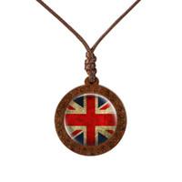 Mode Nationalflagge Kanada Usa Uk Holz Halskette Cabochon Schmuck Vintage Handgemachte Anhänger Kette Souvenir Charme Geschenke