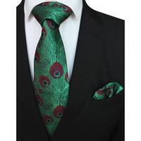 RBOCOTT Tavuskuşu Tüyleri Desen Kravat Mendil Ile Erkekler Için Erkekler Için Set Kravat 8 cm Cep Kare Düğün Için Kırmızı Mavi Yeşil