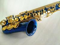 جديد SUZUKI E شقة آلات موسيقية إب ألتو ساكسفون رائعة منحوتة الأزرق الطلاء الجسم الذهب الطلاء مفتاح ساكس مع حالة
