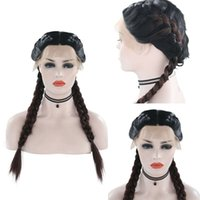 RONGDUOYI 검은 뿌리 긴 복싱 머리 가발 합성 레이스 가발 은 여성의 열 저항력이 중간 부분이 여자는 머리를 꼰