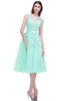 Cheap Sweet 16 Homecoming Dresses Sheer Crew Cuello de cordón apliques con cuentas A-Line ver a través de los vestidos de cóctel de longitud del té C003