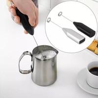 De mano de acero inoxidable de café Milk Drink Mixer Batidora Frother espumador con pilas de cocina batidor de huevo Agitador 100pcs