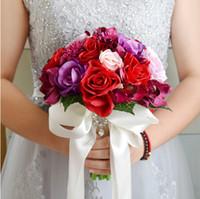 أزياء العروس القابضة ملون باقة الزفاف باقات التصوير الحلو رومانسي الحرير زهرة باقة الزفاف الدعائم الرئيسية الأوسمة متزوج