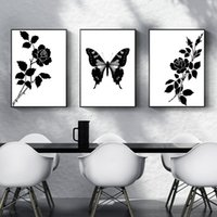 Black and White Wall Decor Art Minimalist Flower Butterfly Canvas Painting Abstract Home Wall Decorative Posters 3pcs Simple Wall Pictures N
